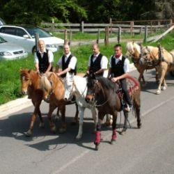 Gara di cavalli tradizionale con festa dei vigili del fuoco