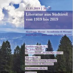 La letteratura altoatesina dal 1919 al 2019